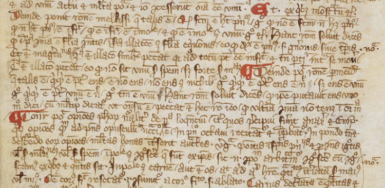 London, British Library, MS Harley 3704, f. 35r (detail). (Germany, 1339-40)